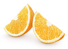 Slices of orange citrus fruit isolated on white Royalty Free Stock Image