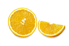 Slices of  orange isolated on white background. Clipping path. Royalty Free Stock Image