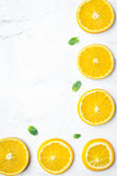 Slices for orange juice on white background top view mock-up Stock Photo