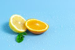 Slices of orange and lemon with mint leaves on a blue background with water drops. Summer cool water orange slices. Slices of orange and lemon on a blue royalty free stock images