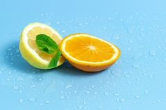 Slices of orange and lemon with mint leaves on a blue background with water drops. Summer cool water orange slices. Slices of orange and lemon on a blue stock photography