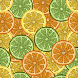Slices of orange, lime and lemon in a cut, seamless pattern, fruit background. Drawing citrus, graphic art, cartoon. For. The design of the fabric, print Stock Photos