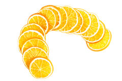 Slices of orange over white. Royalty Free Stock Photography