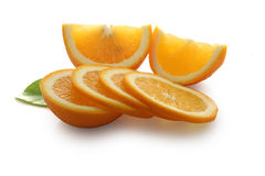 Slices of orange tangerine Stock Photos