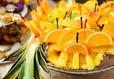 Slices of orange on a tray Stock Photos