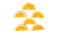Slices of orange on a white background stock photo