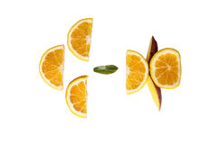 Slices of orange on a white background royalty free stock photos