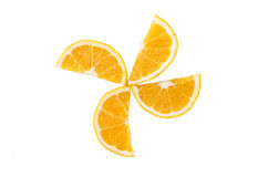 Slices of orange on a white background stock images