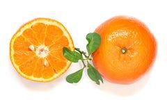 Slices of orange on white background, citrus fruit. Royalty Free Stock Photography