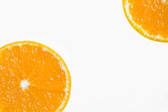 Slices of orange. On a white background. Free space for text stock photo