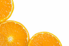 Slices of orange. On a white background. Free space for text royalty free stock photos