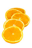 Slices of orange on white background Stock Image