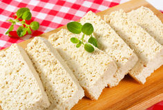 Slices of organic tofu Royalty Free Stock Images