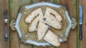 Pain au levain. Slices of pain au levain or french sourdough bread stock photography