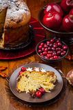 Slices of panettone with fruits Royalty Free Stock Photos