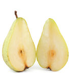 Slices of pear. Two slices of pear isolated on white background Royalty Free Stock Images