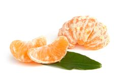 Slices of peeled tangerine Royalty Free Stock Image