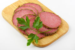 Slices of pepper salami Royalty Free Stock Images