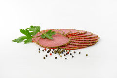 Slices of pepper salami Royalty Free Stock Photo