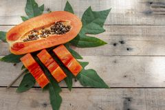 Slices piece of sweet papaya fruit . royalty free stock images