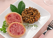 Slices of pig's trotter with lentils, Royalty Free Stock Photo