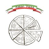 Slices of pizza with different fillings in a. Drawing style. Vector Royalty Free Stock Photo