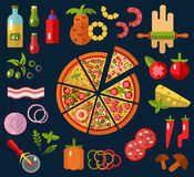 Slices of pizza and ingredients. Slices of different types of pizza, and ingredients. Top view Royalty Free Stock Images
