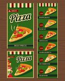 Slices of pizza and the ingredients. Pepperoni, Hawaiian, Margherita, Mexican, Seafood, Capricciosa.  vector retro vintage Stock Photos