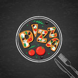 Slices of pizza with tomato, olives, mushrooms. Stock Photography