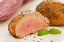 Slices of pork fillet on a plate Royalty Free Stock Photography