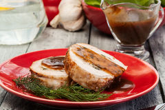 Slices of pork roast stuffed with mushrooms Royalty Free Stock Photography
