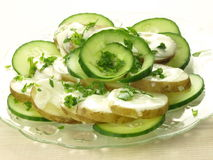 Slices of potato and cucumber Royalty Free Stock Photos