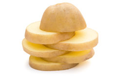 Slices of potato stack up Royalty Free Stock Images