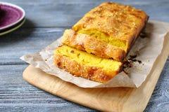 Slices of pound cake with lemon Stock Photos