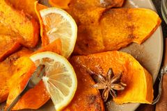 Slices of pumpkin baked with lemon Stock Images