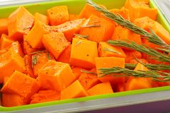 Slices of pumpkin in baking dish. Royalty Free Stock Image