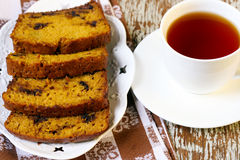 Slices of pumpkin chocolate chip loaf Royalty Free Stock Photos