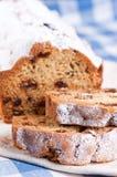 Slices of raisin cake Stock Images