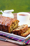 Slices of raisin loaf cake and cup of tea Royalty Free Stock Images