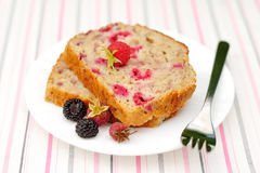 Slices of Raspberry Lemon Loaf Cake Stock Images