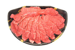Slices Of Raw Beef. Serving Of Thin Slices Of Raw Beef Stock Photography