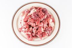 Slices of raw beef Stock Images