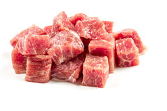 Slices of raw beef. On white background Stock Images