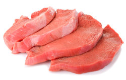 Slices of raw beef. On white background Royalty Free Stock Photo