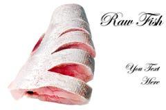 Slices of raw carp  on a white background.Isolated. Slices of raw carp  on a white background.Isolated Stock Photos