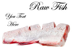 Slices of raw carp  on a white background.Isolated. Stock Photos
