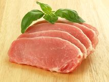 Slices of raw pork Royalty Free Stock Photos