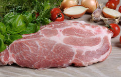 Slices of raw pork steak Royalty Free Stock Photography