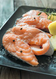 Slices of raw salmon Stock Photography