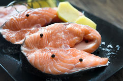 Slices of raw salmon Royalty Free Stock Images